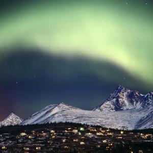 Composite Aurora Borealis Over Hillside Neighborhood & Chugach Mountains Anchorage Alaska
