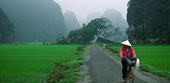 Bicyclist on a dry levee. near Ninh Binh, Vietnam